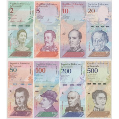 Венесуэла. Набор банкнот образца 2018 г. 8 штук.