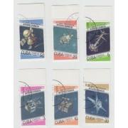 Программа Интеркосмос. 1987 г. 6 марок. Гашение. Поля.