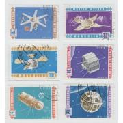 Спутники телекоммуникации 1966 г. 6 марок. Гашение.